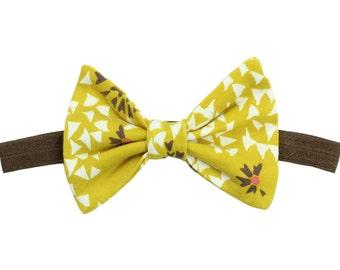 Mustard Yellow Floral Headband Baby Headband Floral Hair Bow Clip Toddler Bow Mustard Floral Hair Bow Clip Floral Headband Baby Girl Gift