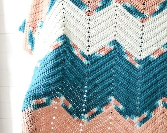 Handwoven Coral and Teal Zigzag Throw Blanket - Handmade Vintage Tribal Vibrant Coral Peach and Teal Turquoise Zigzag blanket linens