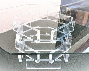 Delightful VVH Vintage Lucite Coffee Table Sculptural Stacked Lucite Brick Coffee Table  Geometric Acrylic Block Cocktail Table