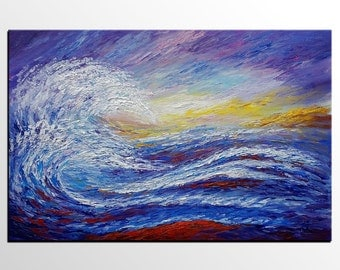 Big Wave Painting, Original Art, Abstract Art, Oil Painting, Canvas Painting, Modern Art, Canvas Painting, Seascape, Living Room Wall Art