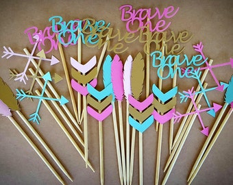 Brave One Cupcake Toppers / 12 Count / Tribal Cupcake Toppers / Boho Cupcake Toppers / Brave One Birthday Decorations / Brave One Party