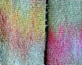 Aqua Pastels Wool & Mohair Boucle Scarf