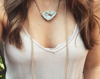 Druzy Leather Wrap Necklace