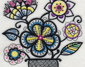 COLORFUL BLACKWORK BOUQUET Flower Arrangement Machine Embroidered Quilt Square, Art Panel