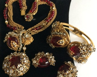 Rare Exquisite Vintage Miriam Haskell Necklace, Bracelet & Pins Set~ Red Glass/Beads/Clear Rhinestones/Gilt Filigree/Gold Tone Chain~Signed