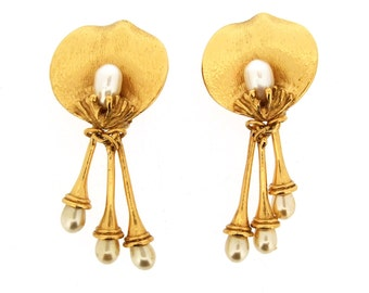 Kenzo Cala Lily Glass Pearl Triple Drop Earrings