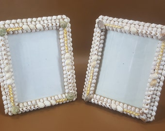 Matched pair vintage seashell picture frames 5.5 by 7.25