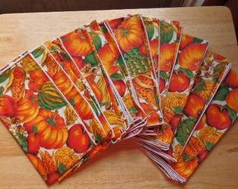 Fall Autumn Pumpkin Cloth Napkin Table Linen Kitchen Decor Linen Napkin Fall Cloth Napkins Set of 12