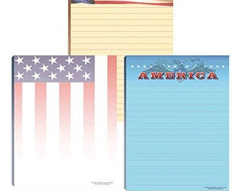 Office Notepads - 6 Assorted Note Pads - American Flag, Patriotic Notepads - 634