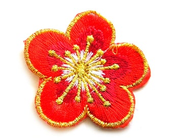 Red Flower Embroidered Patch Appliqué