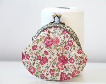 Liberty of London Felicite Pink Roses Oil cloth Handstitched Vintage Metal Frame Coin Purse //Gift for her