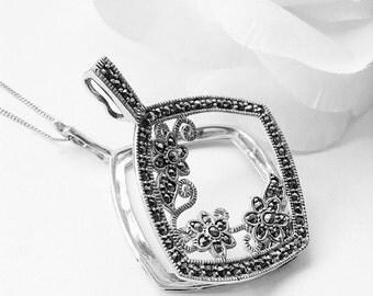 Sterling Silver Pendant, Semi Precious Stone Necklace, Vintage Pendant Opens,  Marcasite Pendant, Floral  Pendant , Vintage Cut Out  Pendant
