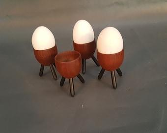 Set of 4 Vintage Danish Modern Rosewood Egg Cups