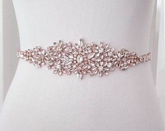 Wedding Belt, Crystal Bridal Belt, Bridal Sash, Beaded Wedding Belt, Rose Gold, Silver - Style 782.1