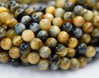 "15.5"" 8mm/10mm/12mm Natural blue Golden tiger eye round beads, blue yellow color semi-precious stone, DIY jewelry beads FM2"