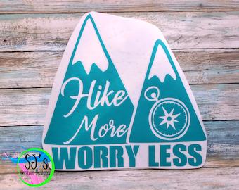 Hiking Decal, Hike more worry less, Hike decal, Hike more worry less decal, Outdoor decal, Camping decal, Hiking Car Decal, decal, hiking