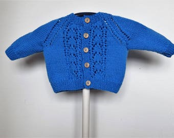 Handmade Knitted Baby Girl Cardigan/Sweater Size 3-6 Month/21 Inches in Blue with Wooden Buttons, Baby Boy, Hand Knit, Baby Gift