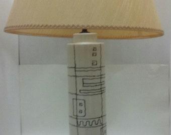Wrought Iron Hairpin Leg Ceramic Table Lamp Shade 1960s Mid Century