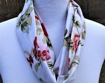 floral infinity scarf, ladies summer neck wrap, one wrap around, soft polyester fabric, vacation accessory, gifts for her