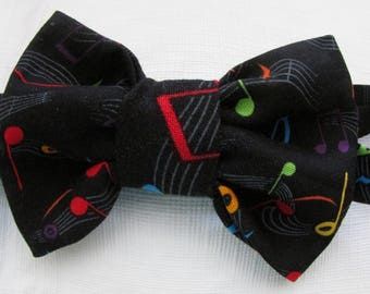 Black With Red, Blue, Green And Orange Musical Notes Bowtie, Boy's Musical Bowtie