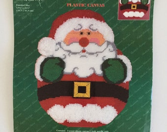 Janlynn Christmas Santa WallHanging Plastic Canvas Cross Stitch, Kit 140-89