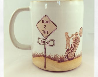 Bad to the Bone- cat motorcycle mug