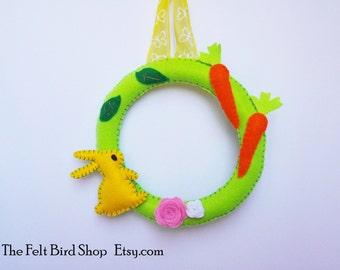 Felt Wreath. Spring Felt Wreath with bunny and carrots.