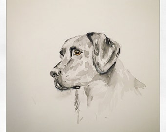Original Art- Black Dog Watercolor Painting