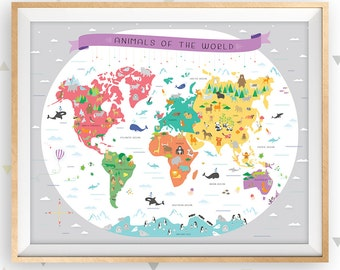 World map, Map of the world, Map wall art, Map nursery art, Educational poster, Classroom poster, Map poster, Animal map, Playroom art, Gray