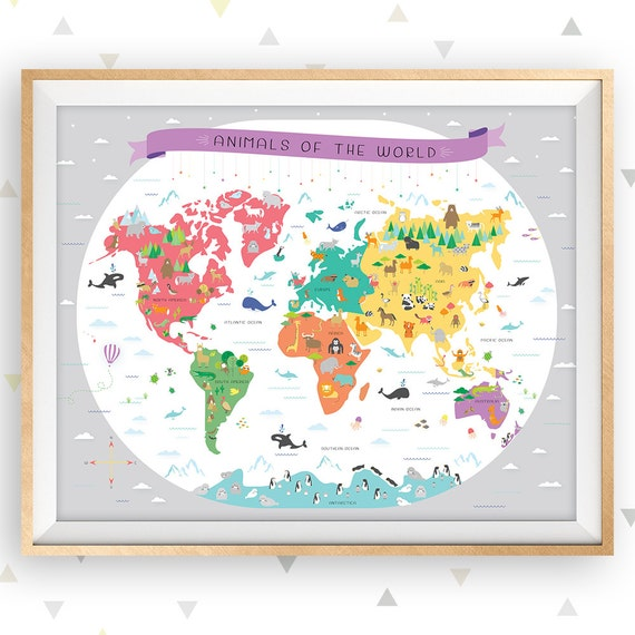 World map map of the world map wall art map nursery art like this item gumiabroncs Images