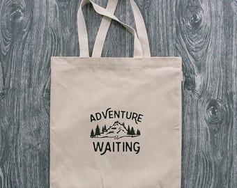 Adventure is Waiting - Wanderlust - 12oz Cotton Canvas Tote Bag