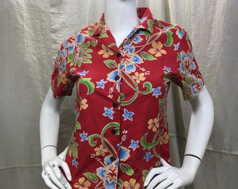 90s Hawaiian Shirt, Hilo Hattie Short Sleeve Collared Button Down Top Small