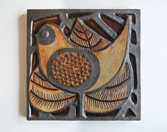 Vintage wall plaque made by Soholm. Noomi Backhausen Danish 1970's
