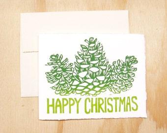 Single Card - New Greens Pinecones Happy Christmas Card - 1 Block Printed Card