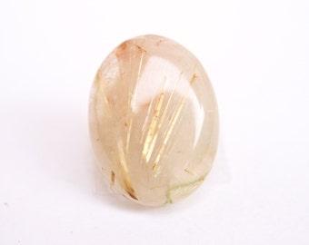 Gold rutilated Quartz Cabochon - Rutilated Quartz Cab - Rutile Crystals - stone cabochon - Jewelry Supplies- New Stone Age Cabochons