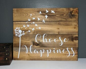 Choose happiness hand painted, pallet, wood sign, wooden sign,plaque, custom wood sign, custom wooden sign, custom sign, rustic home decor