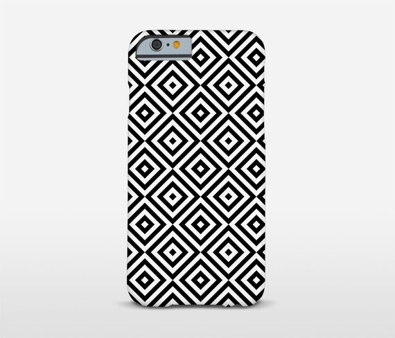 Geometric Cell Case, Black And White, iPhone Cases, iPhone7 Plus, Minimalist Decor, Modernist Phone