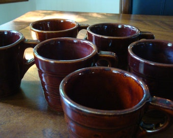 Marcrest MCR2 DOT& DAISY Warm Colorado Brown Stoneware Cups (4) 2 Sets Available!