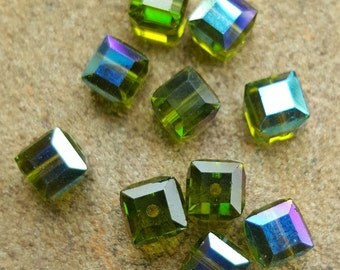 Swarovski 6mm Faceted Crystal Cube (5601) Bead - OLIVINE AB - 6 or 12 Beads