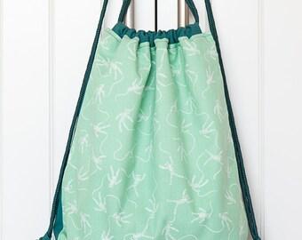 Fabric drawstring backpack, green backpack, handmade backpack, mummies pattern, aquamarine fabric, filobianco, holiday backpack, cotton