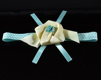 SALE! Aqua Blue Toddler Girl Elastic Flower Headband