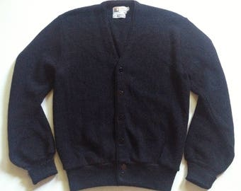 1960s Mid Century Black Golf Sweater Alpaca Blend Minimalist S