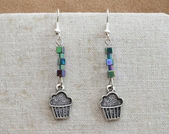 Cupcake earrings, rainbow haematite / hematite earrings