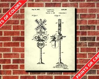 Railway Signal Patent Print Vintage Railway Sign Railroad Crossing Poster Wall Art Railroad Decor Train Signal