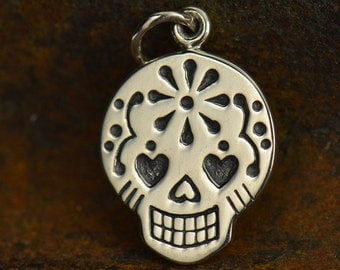 Sugar Skull Charm. Sterling Silver or Natural Bronze Charm.