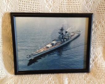Vintage Framed USS New Jersey BB 62 Battleship Photo Naval History WWII
