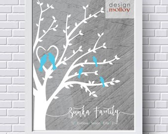 Family Tree for Mother's Day - Family Tree with Birds, Personalized Family Tree, Gift for Mom, Family Tree Wall Art, Anniversary Gift