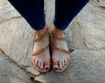 Natural Leather Sandals Flared Shape, Genuine Leather, Women Flip Flops, Made In Greece, Leather 100%, Tie Up Leather Sandals