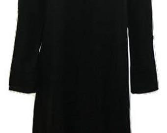 Plus size summer asymmetric hem embroidered v-neckline tunic dress black