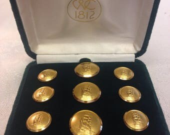 Waterbury 24K Gold Plated  Buttons - Mayflower Design